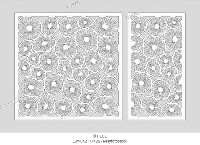 Template for cutting. Round art pattern. Laser cut. Set ratio 1:2, 1:1. Vector illustration