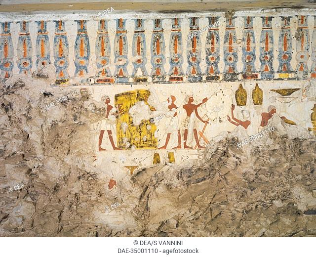 Egypt, Thebes (UNESCO World Heritage List, 1979) - Luxor. Sheikh 'Abd al-Qurna. Tomb of city governor and vizier Hepu. Mural paintings