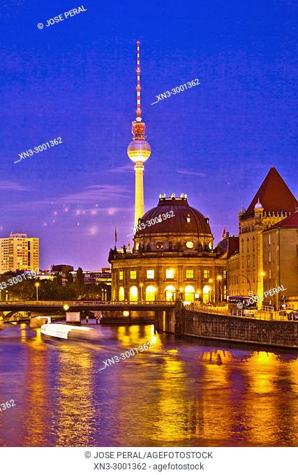 Spree River, Bode Museum, Museum Island, Museumsinsel, on background Television Tower, Berlin, Germany, Europe