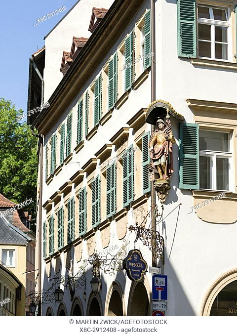 """Sculpture in the medieval Old Town. Bamberg in Franconia, a part of Bavaria. The Old Town is listed as UNESCO World Heritage """"""""Altstadt von Bamberg"""""""""""