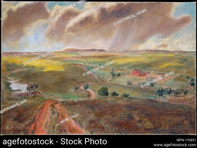 Spring Shower (Western Kansas Landscape). Artist: John Steuart Curry (American, Dunavant, Kansas 1897-1946 Madison, Wisconsin); Date: 1931; Medium: Oil on...