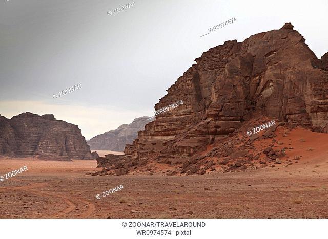 Rock formations in the desert Wadi Rum, Jordan