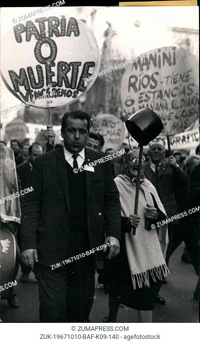 Oct. 10, 1967 - Demonstration Against The Uruguayan Official Policy. More than 15,000 people demonstrated through the principal streets of Montevideo