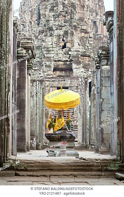 Buddha statue on the western side of the Bayon temple, Angkor Thom, Angkor, Siem Reap, Cambodia