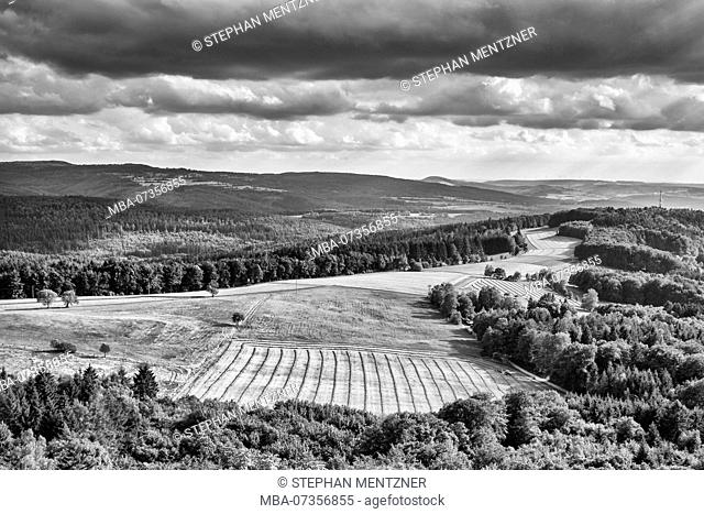 View from the Ebersburg castle ruins to the Fulda region, Germany, East Hesse, Fulda district, Ebersberg
