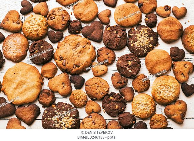 Variety of cookies on wooden table