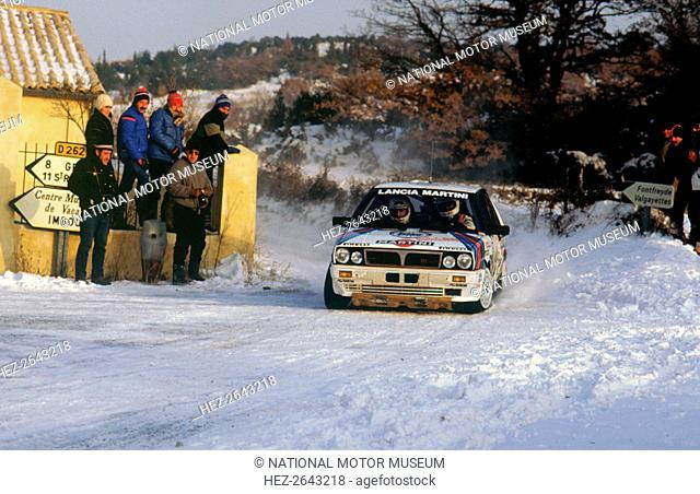 Juha Kankkunen in Lancia Delta HF during 1987 Monte Carlo Rally. He finished 2nd overall Artist: Unknown