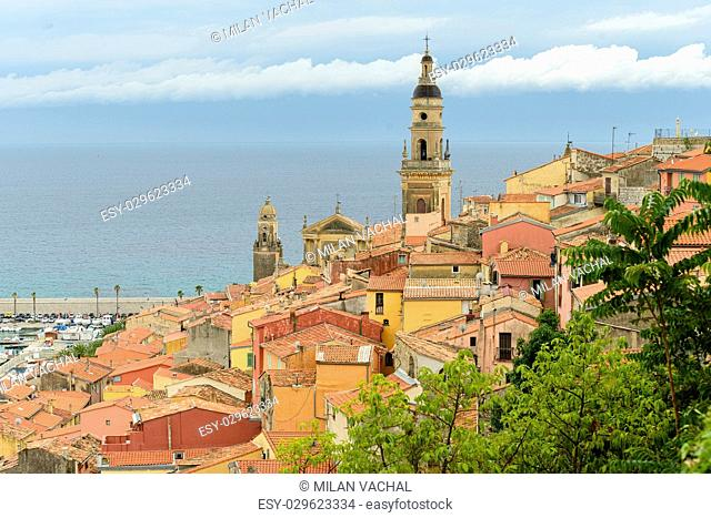 Riviera town Menton view with sea and church