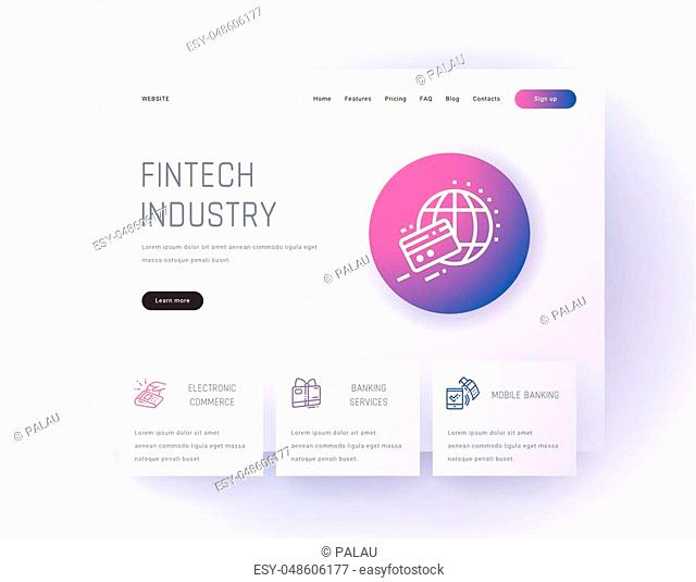 Fintech industry, Electronic commerce, Banking services, Mobile banking Landing page template. Template for website design