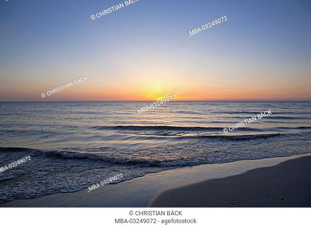 Sunset by the sea, Baltic sea spa Prerow, peninsula Fischland-Darss-Zingst, Mecklenburg-West Pomerania, Germany