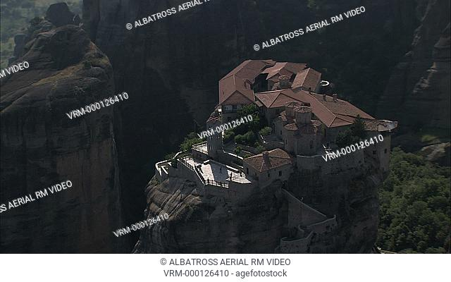Aerial HD video of one of the famouse Meteora, suspended rocks, Monasteries. A UNESCO world heritage site