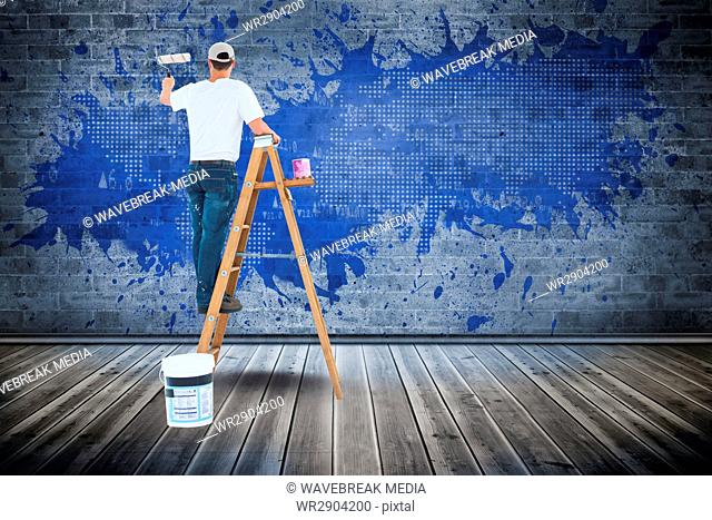 Digital composite image of man painting wall