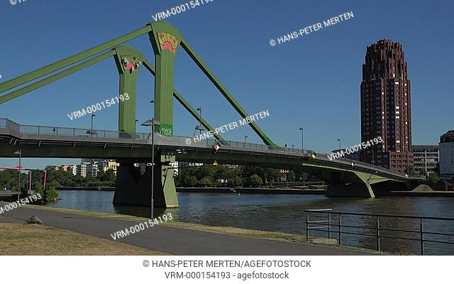 Floesserbruecke and Main River, Frankfurt am Main, Hesse, Germany
