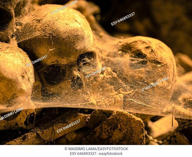 Dark ages,skulls in cemetery, Naples