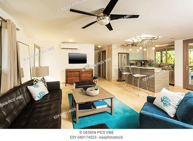 Living Room In Contemporary Modern Home, Interior Design