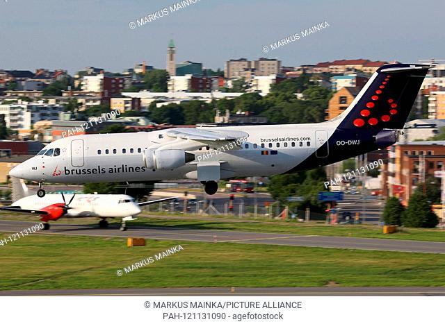 Stockholm, Sweden - 25. June 2013: Brussels Airlines British Aerospace Avro 146-RJ100 at Stockholm Bromma airport (BMA) in Sweden. | usage worldwide