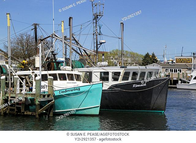 Boats in Hyannis Harbor, Hyannis, Cape Cod, Massachusetts, United States, North America