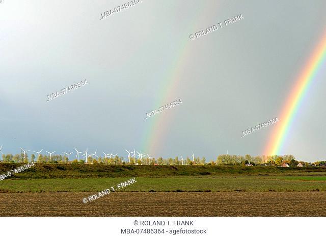 Germany, Lower Saxony, East Frisia, rainbow over the lowland