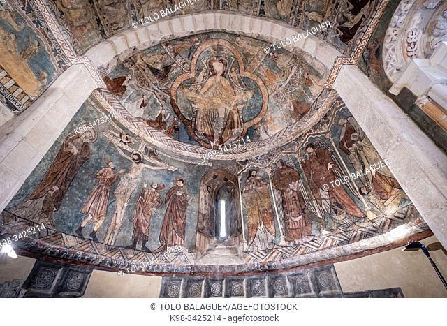 pinturas góticas, ábside, Iglesia de San Martín de Tours, Gazeo, Ã. lava, Spain, Europe