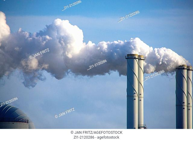 pipes with smoke from powerstation at the Maasvlakte, Rotterdam, the Netherlands