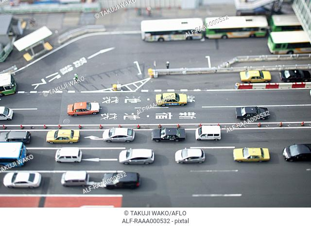 Tilt-shift bird's eye view of street in Tokyo, Tokyo, Japan