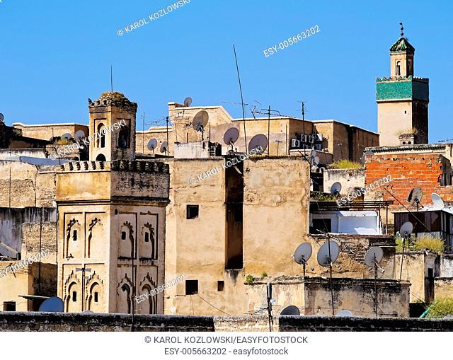 View of the roofs and minarets in the old medina of Fes, Morocco, Africa