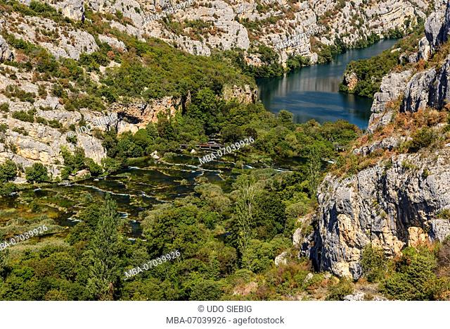 Croatia, Dalmatia, region of Sibenik, Krka National Park, Roski Slap, Krka Gorge