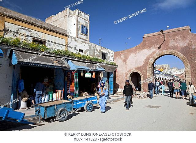 Morocco Atlantic Coast Essaouira Archway and shops on Ave L'Istiqlal