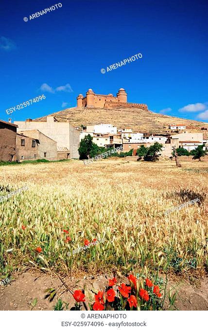 View of the town and castle (Castillo de La Calahorra), La Calahorra, Granada Province, Andalusia, Spain, Western Europe