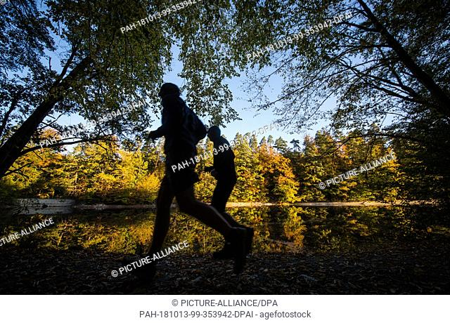 13 October 2018, Baden-Wuerttemberg, Stuttgart: Joggers running past autumnally coloured trees, which are reflected in the Baerensee lake in the early morning
