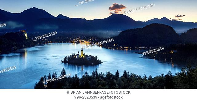 Overhead view of Lake Bled with St Marys Church of the Assumption, Bled, Upper Carniola, Slovenia