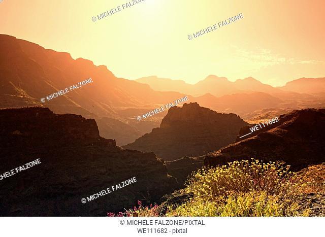Canary Islands, Gran Canaria, Santa Lucia, view from Mirador el Guriete