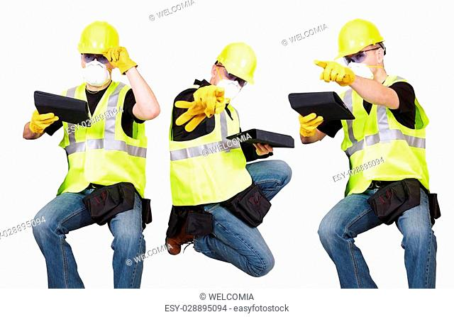 Seating Contractors Isolated on White Background. Construction Site Workers