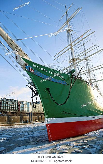 Museum ship Rickmer-Rickmers in the Hamburg harbour, Saint Pauli, Saint Pauli gangplankes, Steinwerder, Hanseatic town Hamburg, North Germany, Germany, Europe