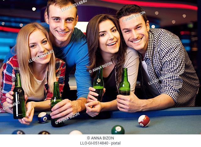 Party with friends in nightclub with billiards. Rzeszow, Poland