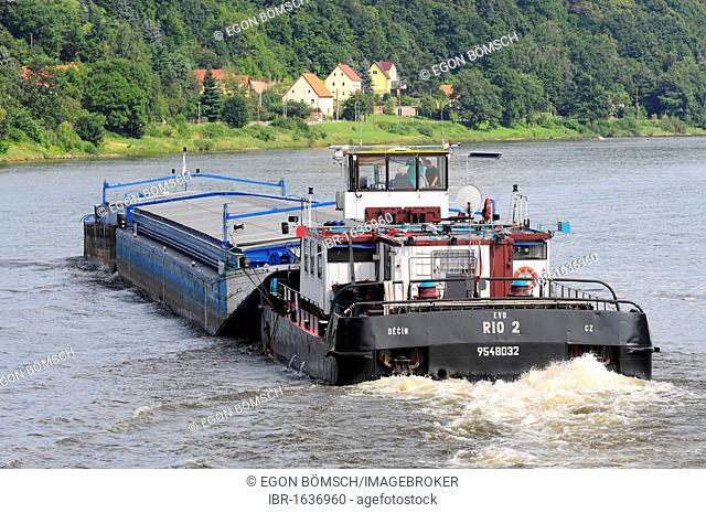 Cargo ship RIO 2 on the Elbe River near Kurort Rathen, Dresden, Saxony, Germany, Europe
