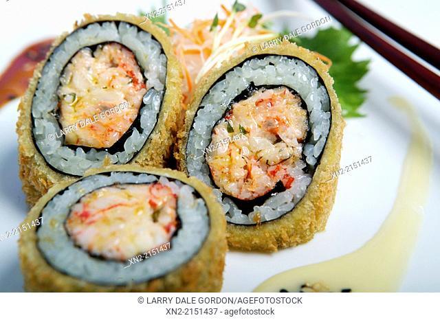 Crab meat sushi roll, Honolulu, Hawaii, United States