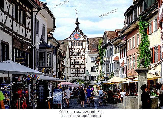 Historic centre with Untertor, Stein am Rhein, Canton of Schaffhausen, Switzerland