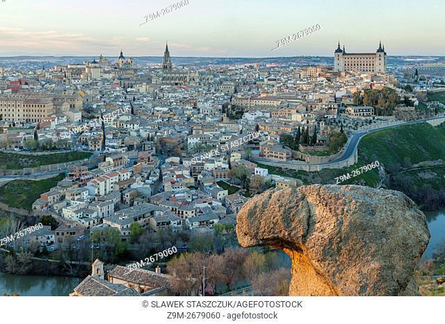 Sun sets at Toledo old town, Castilla la Mancha, Spain