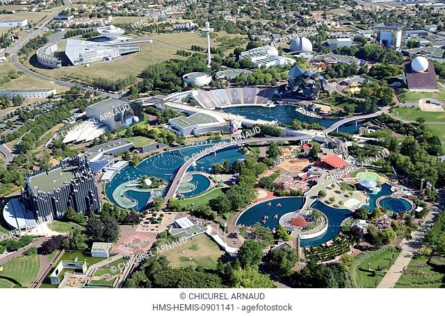France, Vienne, Poitiers, Futuroscope theme park by architect Denis Laming (aerial view)