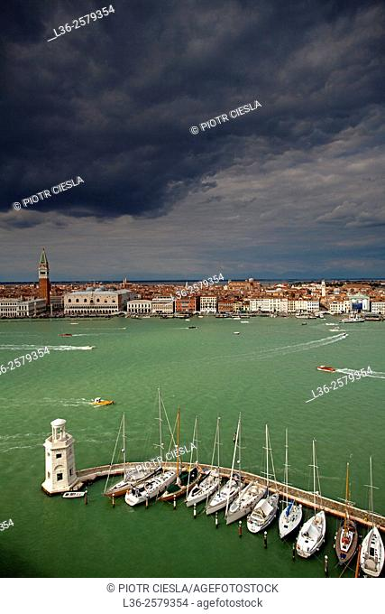 Venice. A view at Piazza San Marco fromm the campanila of the Chiesa di San Giorgio Maggiore