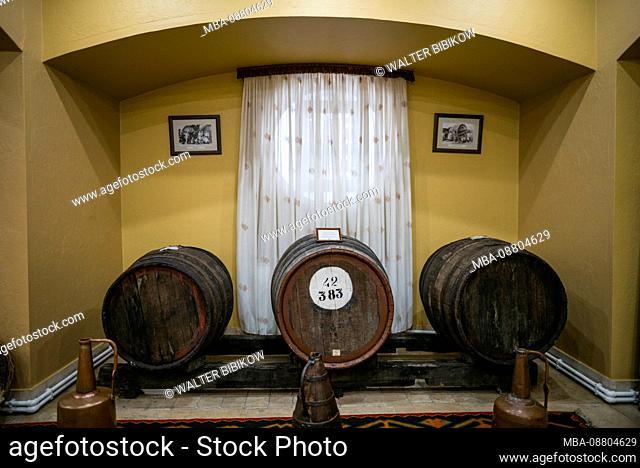 Armenia, Yerevan, Yerevan Noy Brandy Company, Brandy distillers since the 19th century, casks of brandy, ER