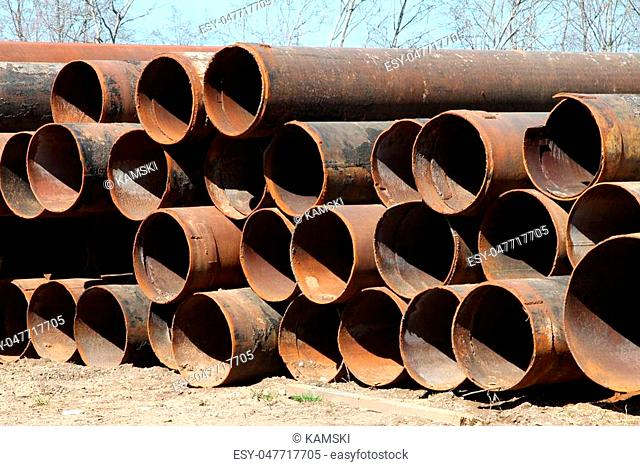 Large diameter pipes stored on the ground