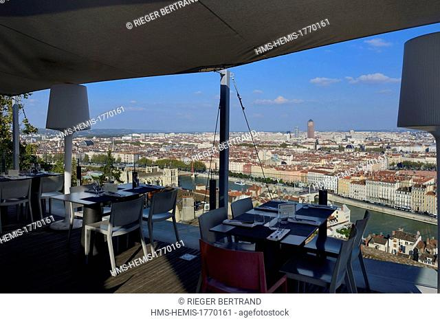 France, Rhone, Lyon, the Tetedoie gourmet restaurant on the upper slopes of the Fourviere hill