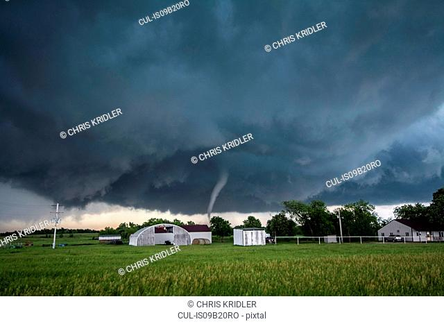 A tornado rated EF4 - with winds 166 to 175 miles per hour - striking a neighbourhood in Katie, Oklahoma