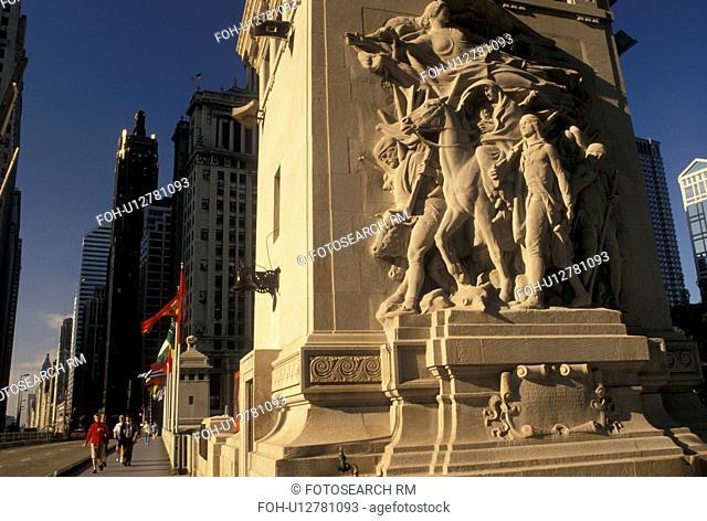 Chicago, IL, Illinois, Sculpture on Michigan Avenue Bridge in downtown Chicago