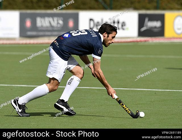 Gantoise's Charles Masson controls the ball during a hockey game between Royal Leopold Club and Gantoise, Sunday 11 April 2021 in Ukkel - Uccle, Brussels