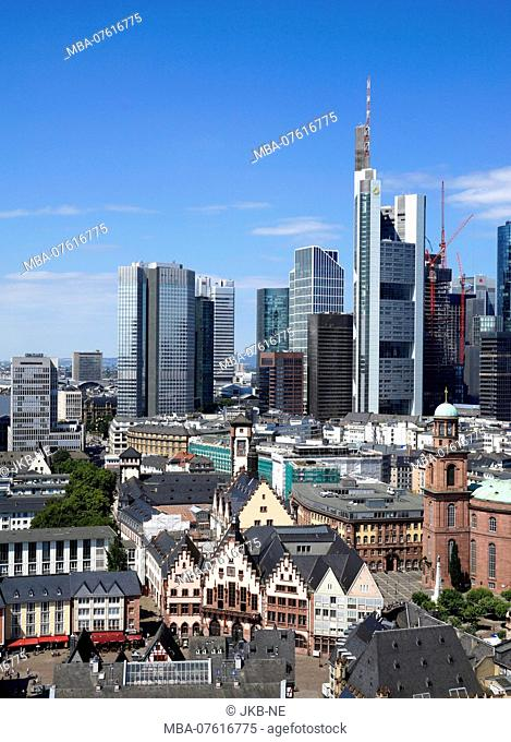 Germany, Hesse, Frankfurt am Main, Römer, St. Paul's church, financial district, view from the Kaiserdom tower