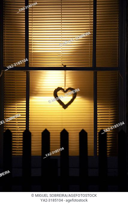 Night Window with Heart
