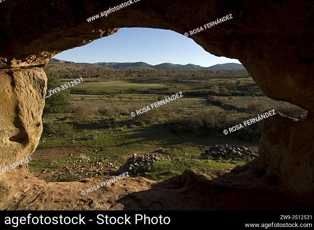 Roman city of Tiermes, Centuries I to III A.C., interior and landscape seen from a cave house carved in sandstone, Pela Mountains, Montejo de Tiermes